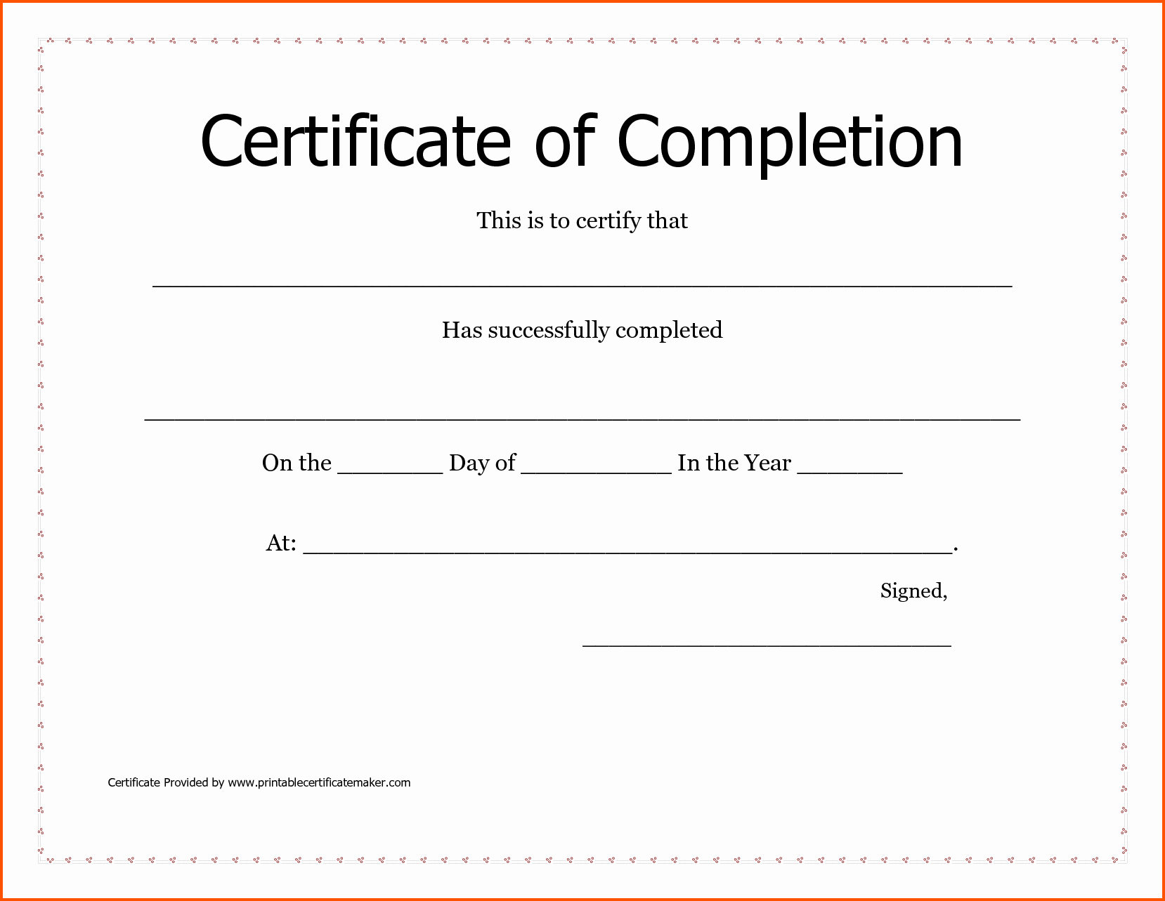 Blank Certificate Of Completion Template Lovely Blank Certificates Pletion Mughals