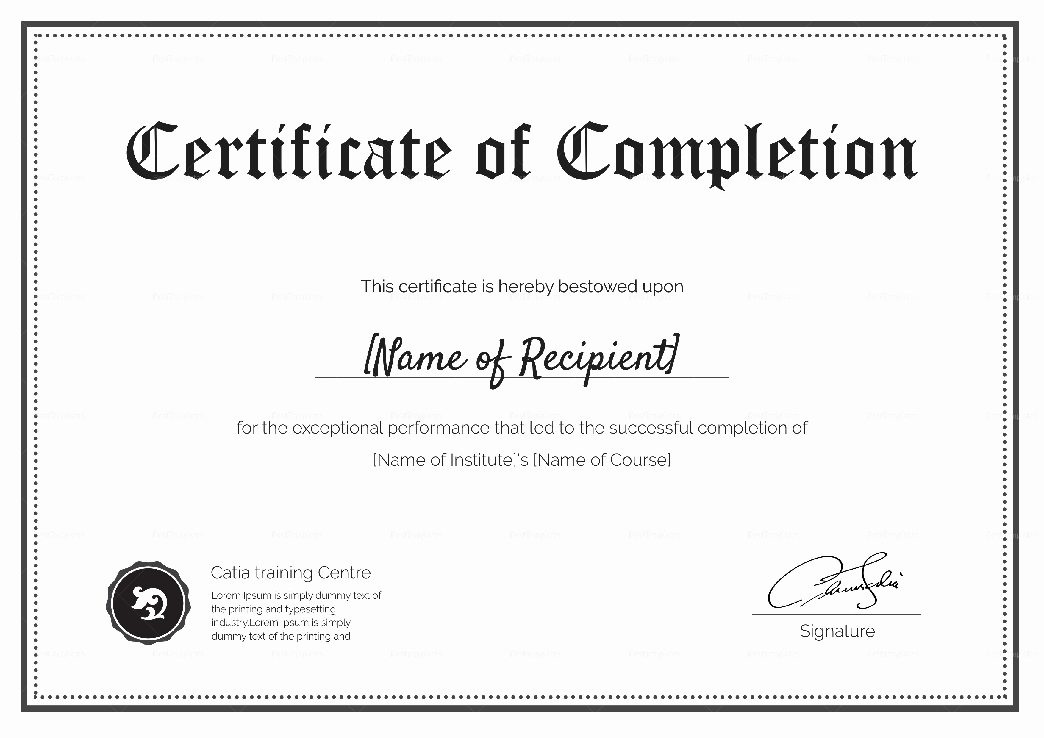 Blank Certificate Of Completion Template Lovely Blank Pletion Certificate Design Template In Psd Word