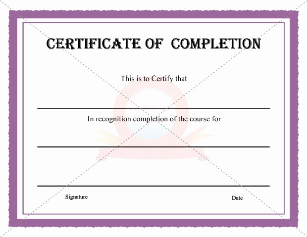 Blank Certificate Of Completion Template Luxury 10 Best Of Certificate Pletion Template
