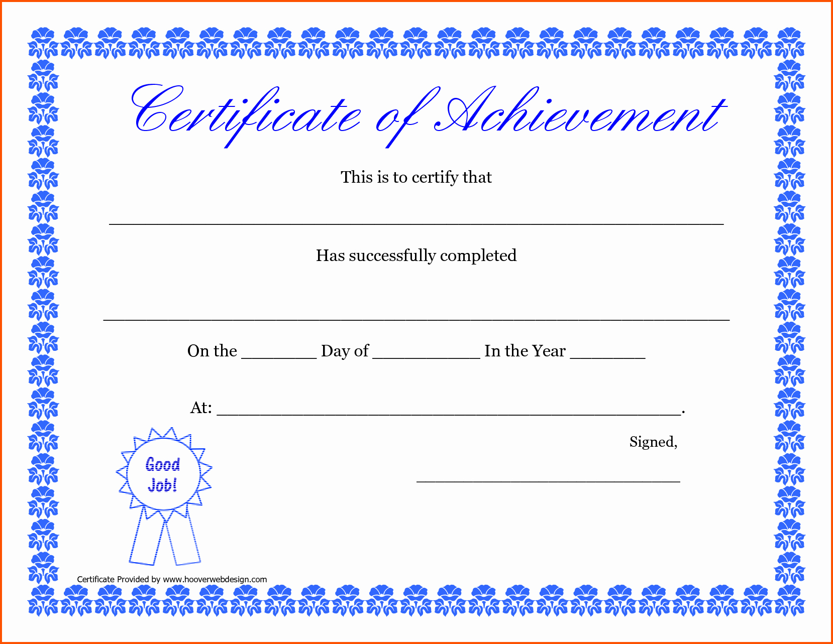 Blank Certificate Of Completion Template Luxury 46 Certificate Pletion Templates Free Printable