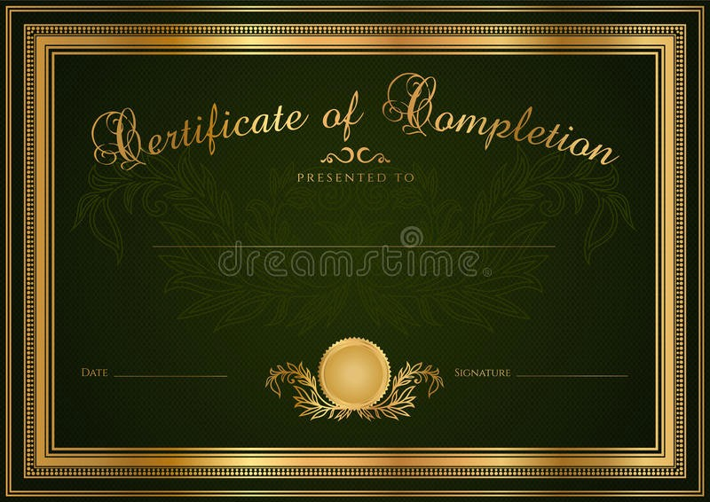 Blank Certificate Of Completion Template Luxury Green Certificate Diploma Background Template Stock