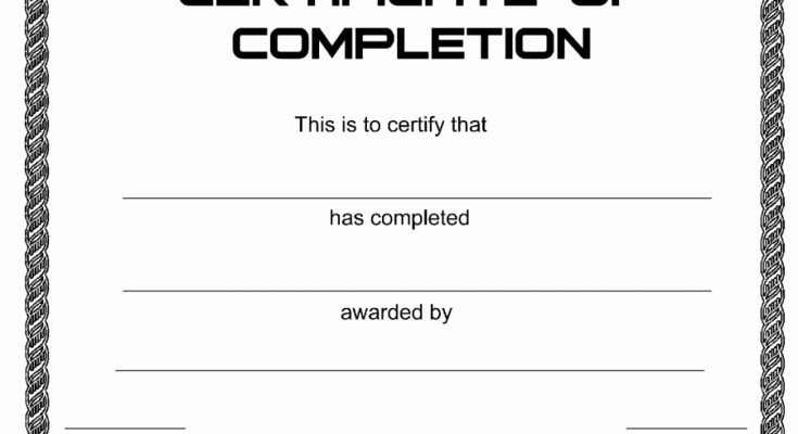 Blank Certificate Of Completion Template New Printable Blank Certificate Of Appreciation Recognition