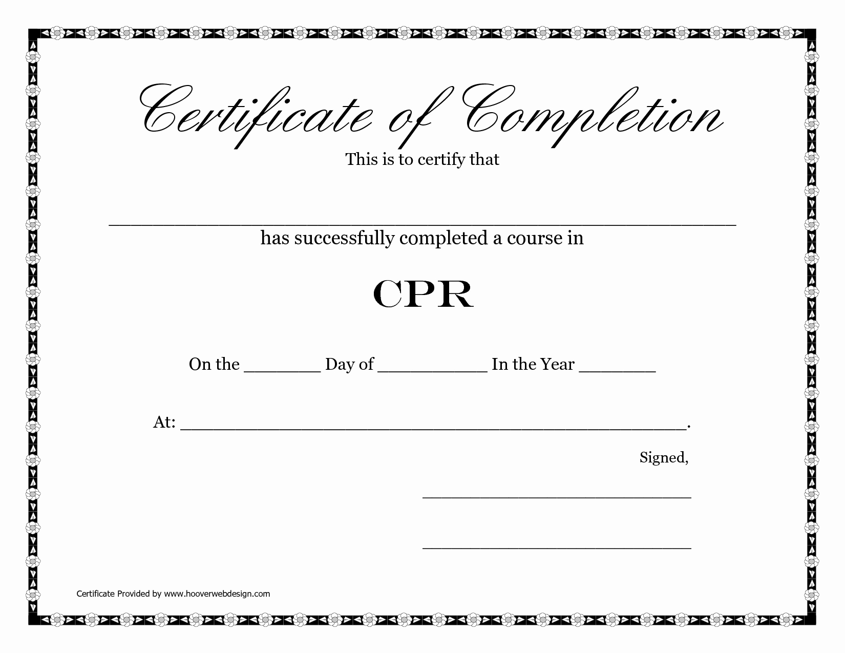 Blank Certificate Of Completion Template New Printable Blank Certificate Pletion Cpr Template V