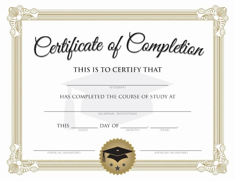 Blank Certificate Of Completion Template Unique Graduation Certificate Templates