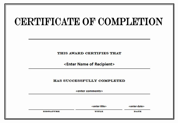 Blank Certificate Of Completion Template Unique Printable Certificates Of Pletion