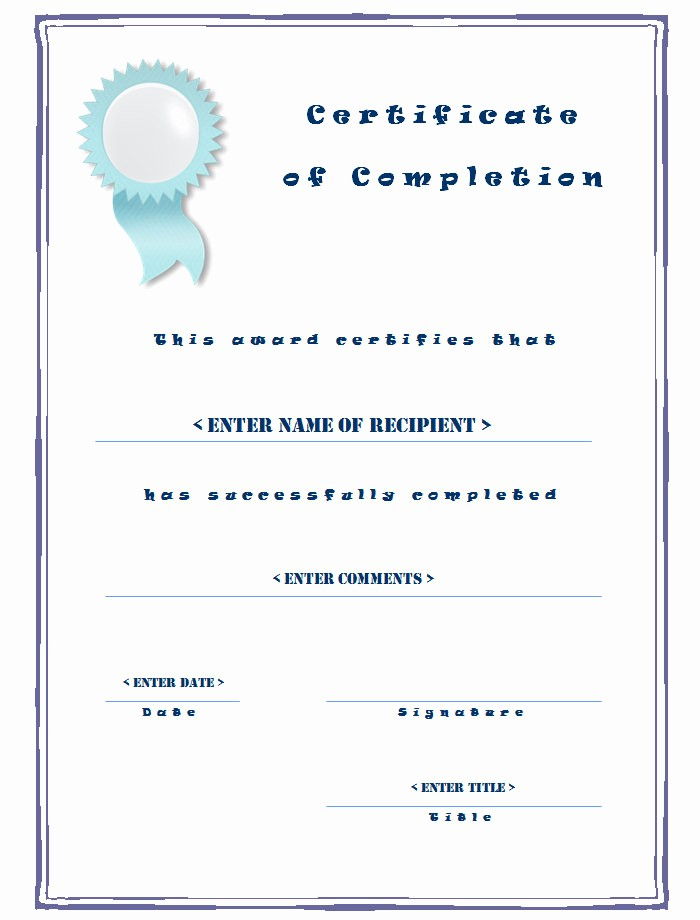 Blank Certificate Of Completion Template Unique Qualified Certificate Pletion Templates with Blue
