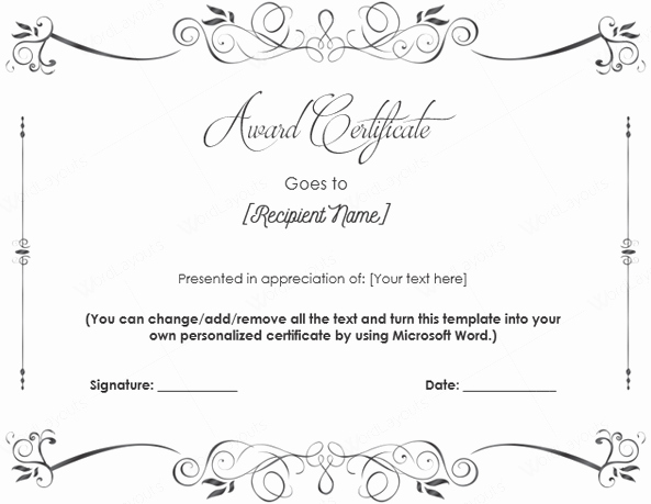Blank Certificate Templates for Word Elegant 10 Best Award Certificate Templates for 2016