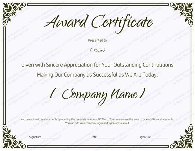 Blank Certificate Templates for Word Elegant Blank Retirement Certificate Template Editable and Printable