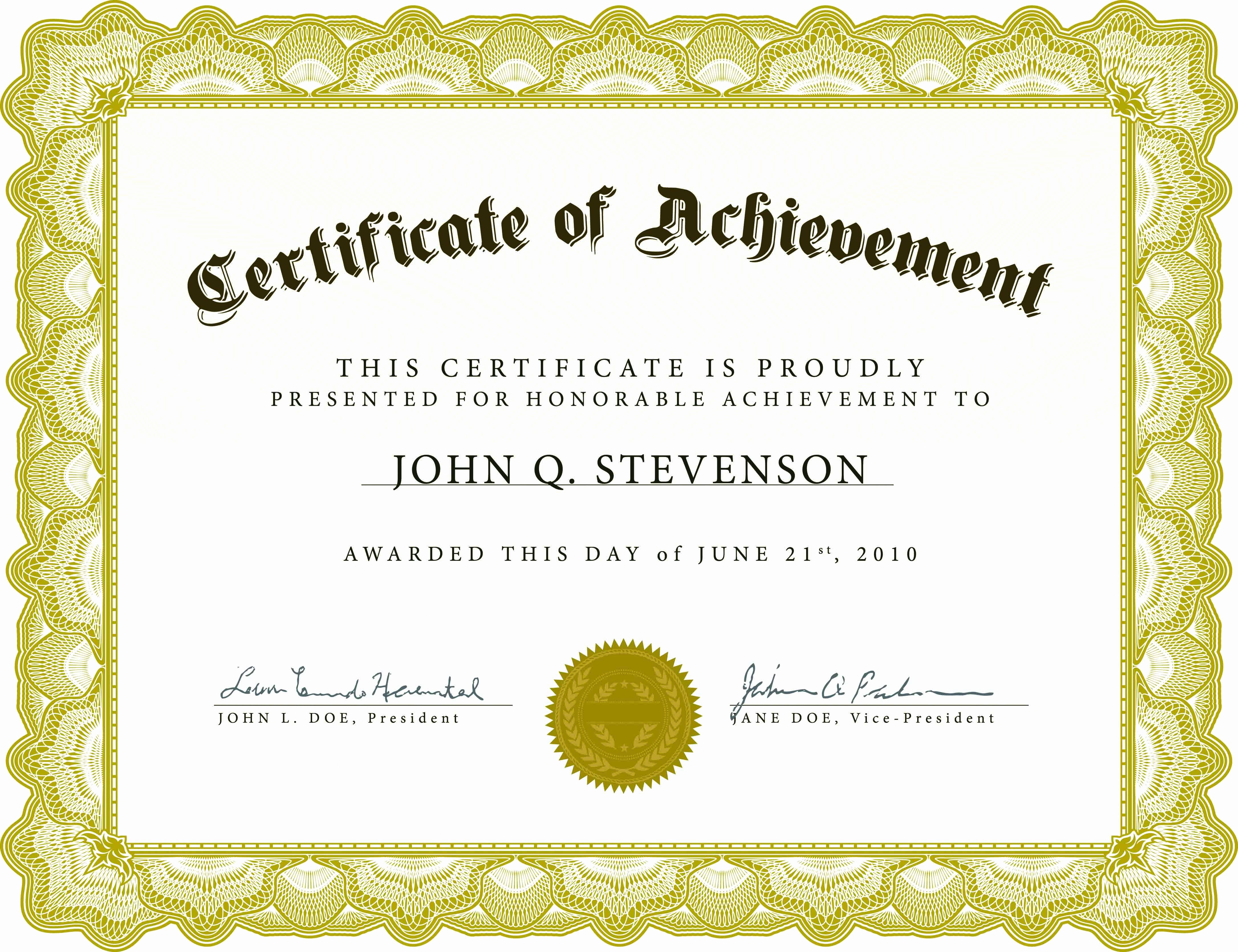 Blank Certificate Templates for Word Elegant Certificate Templates without Borders