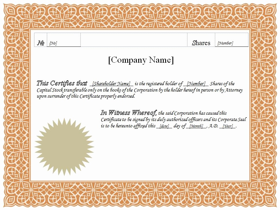 Blank Certificate Templates for Word Inspirational formatted Stock Certificate Templates