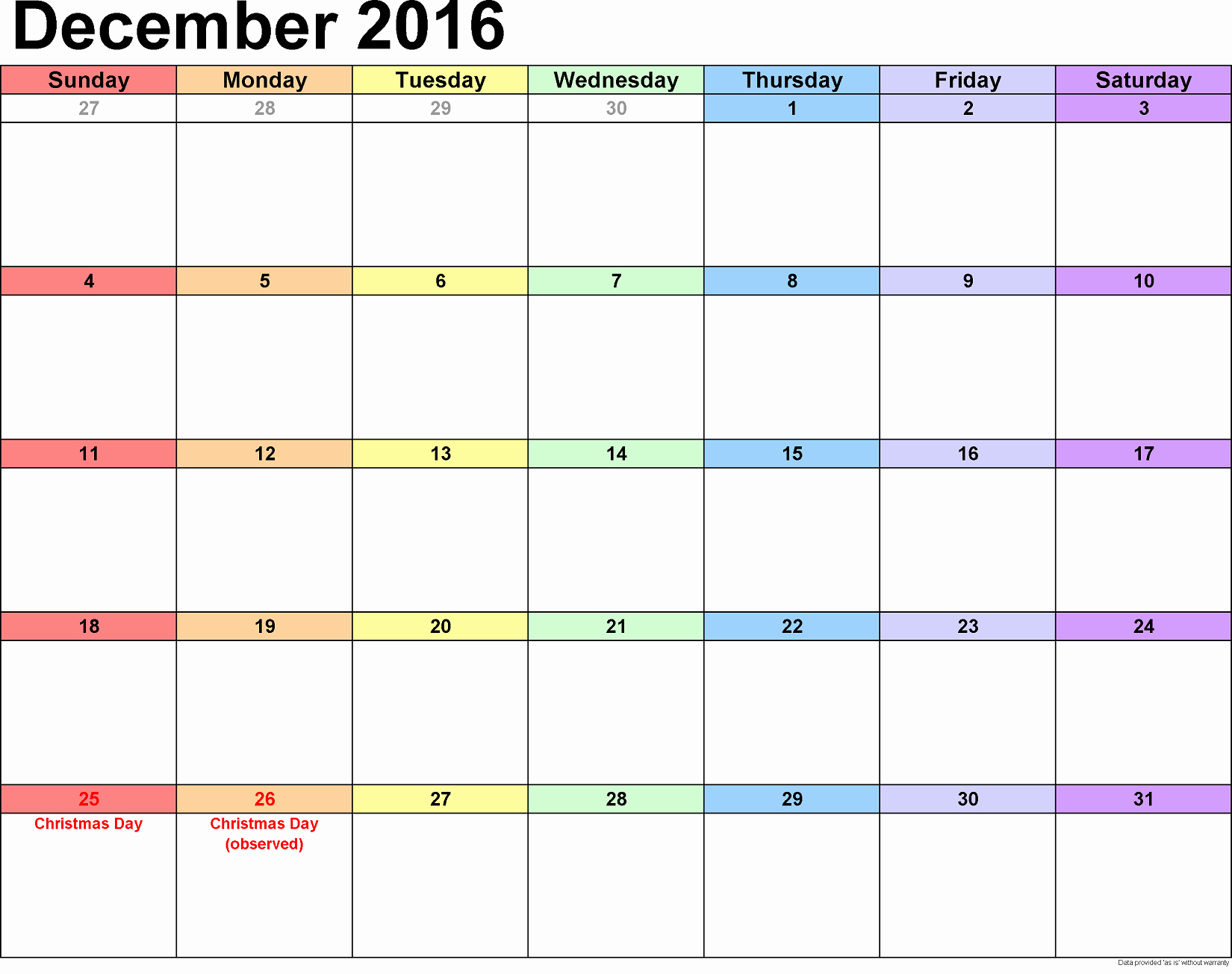 Blank December Calendar 2016 Printable Awesome December 2016 Calendar Printable Free