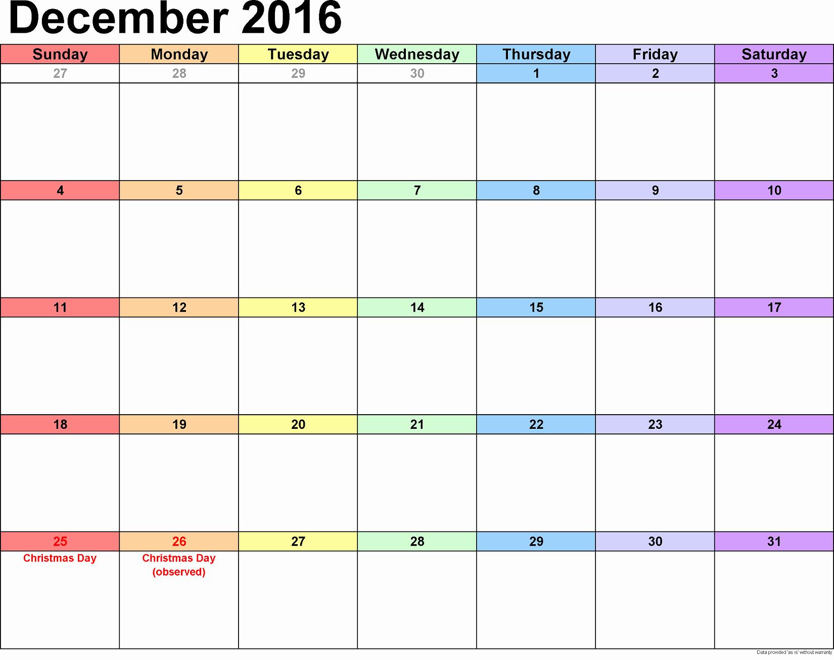 Blank December Calendar 2016 Printable Awesome December 2016 Calendar Printable Free