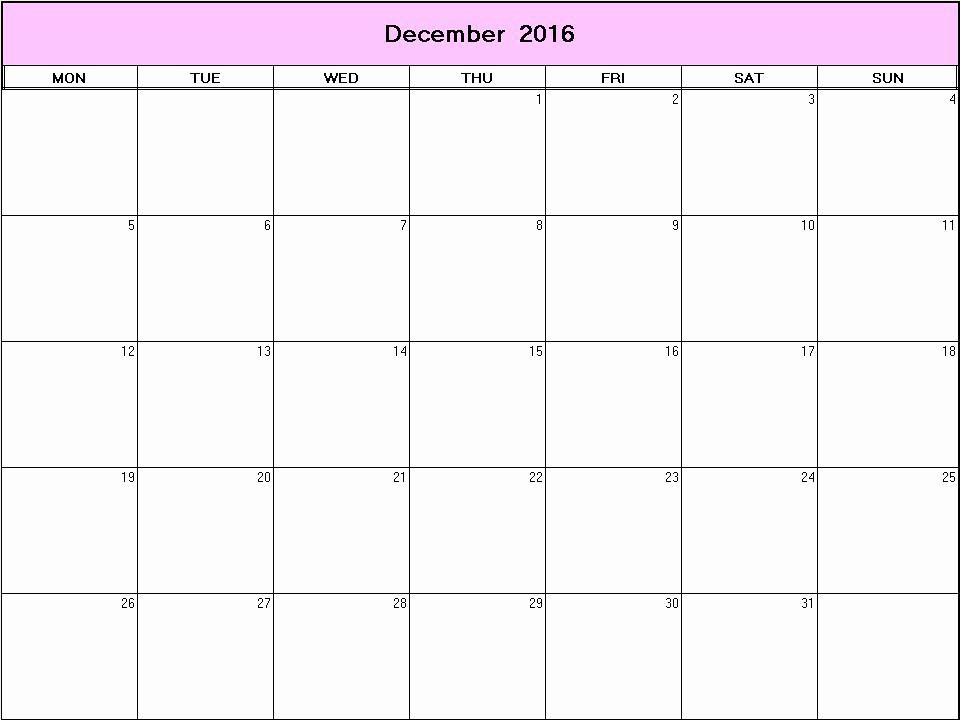 Blank December Calendar 2016 Printable Awesome December 2016 Printable Blank Calendar