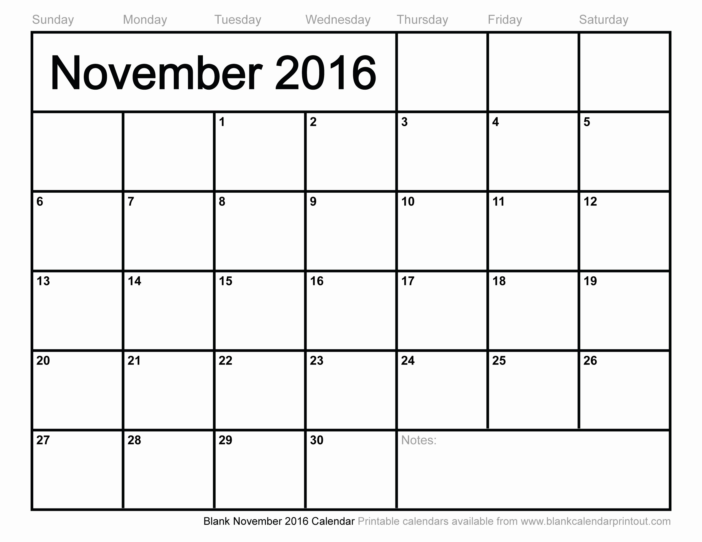 Blank December Calendar 2016 Printable Beautiful Blank November 2016 Calendar to Print