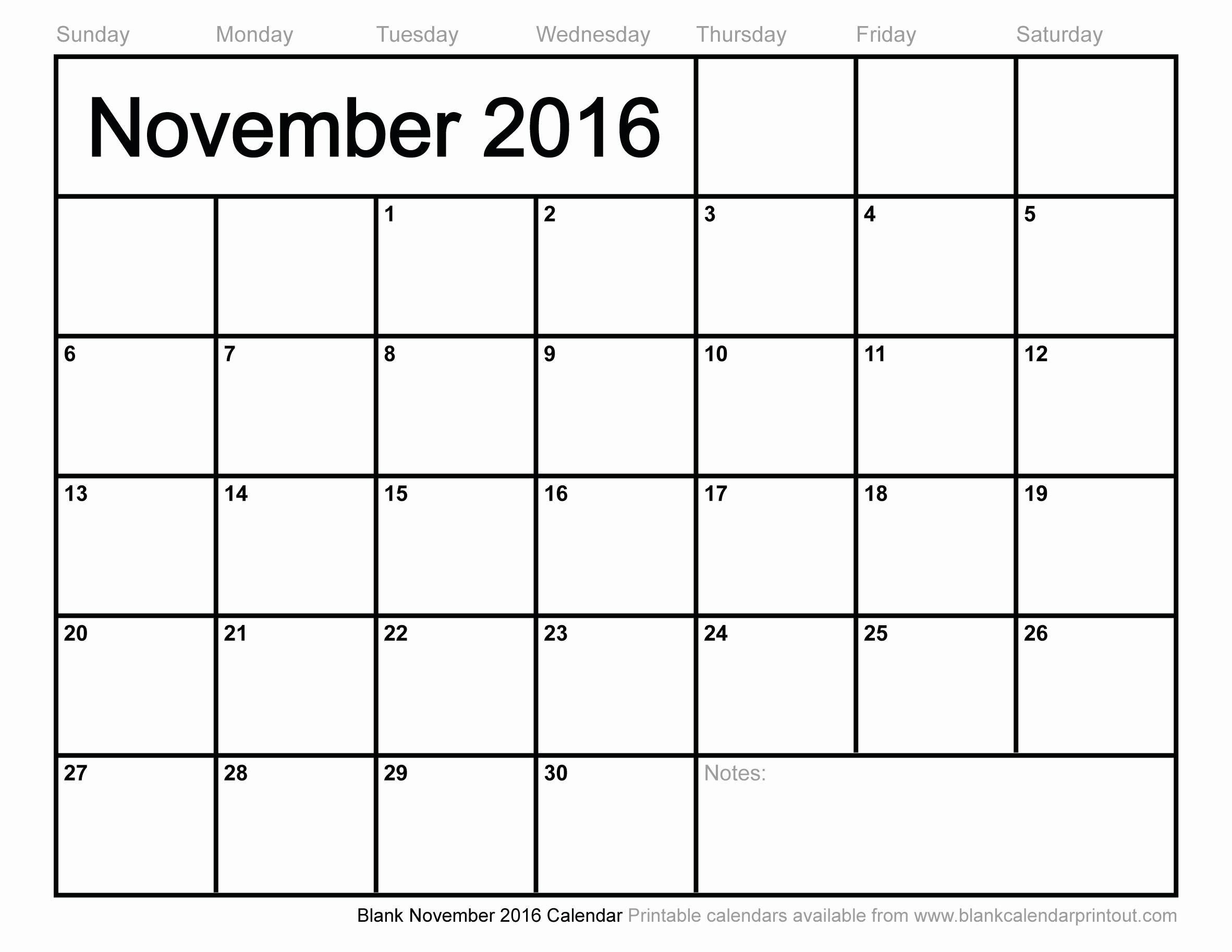 Blank December Calendar 2016 Printable Beautiful Blank November 2016 Calendar to Print