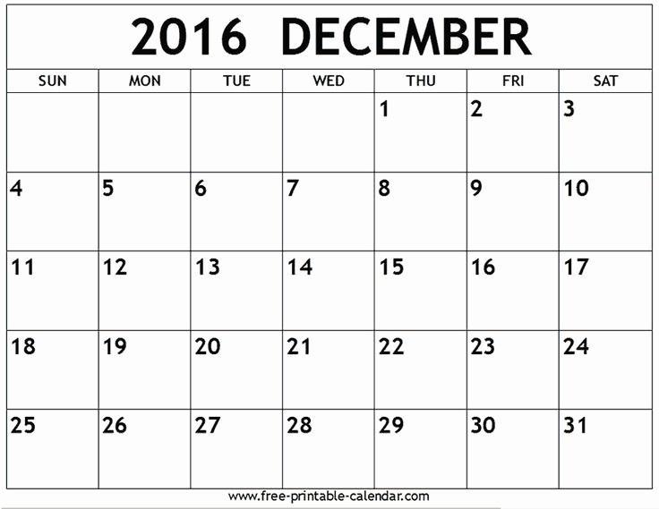 Blank December Calendar 2016 Printable Elegant 17 Best Ideas About December 2016 Calendar On Pinterest