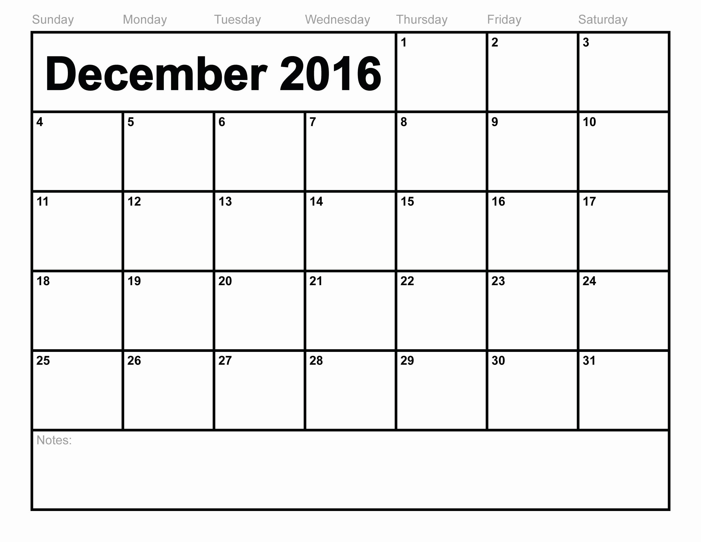 Blank December Calendar 2016 Printable Elegant Blank December 2016 Calendar Free Printable 2018