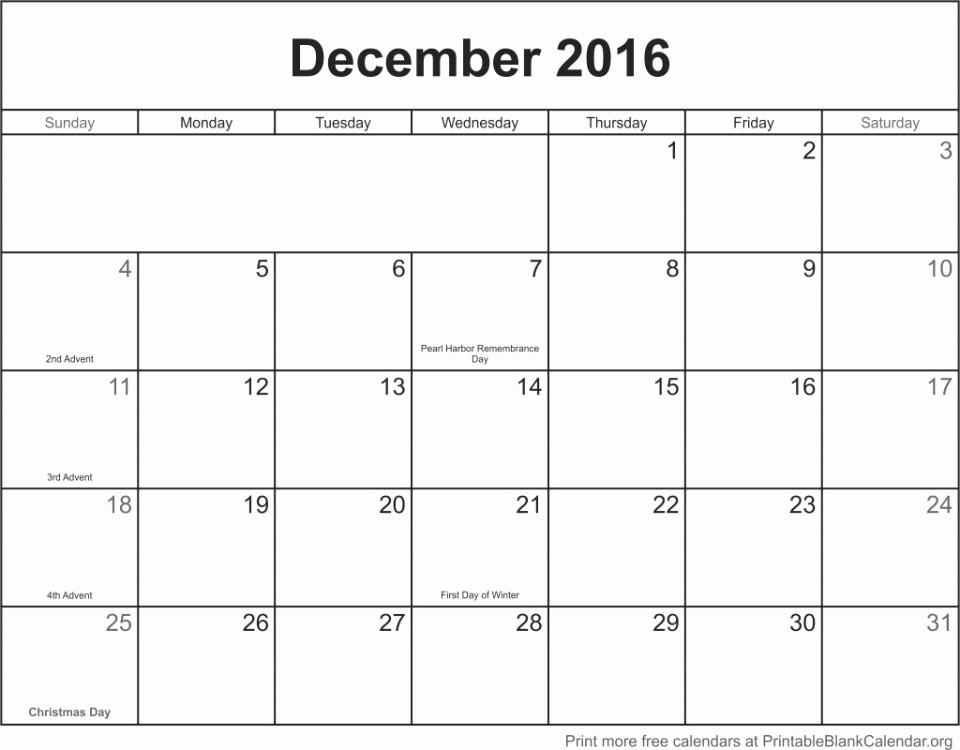 Blank December Calendar 2016 Printable Elegant December 2016 Printable Blank Calendar Printable Blank