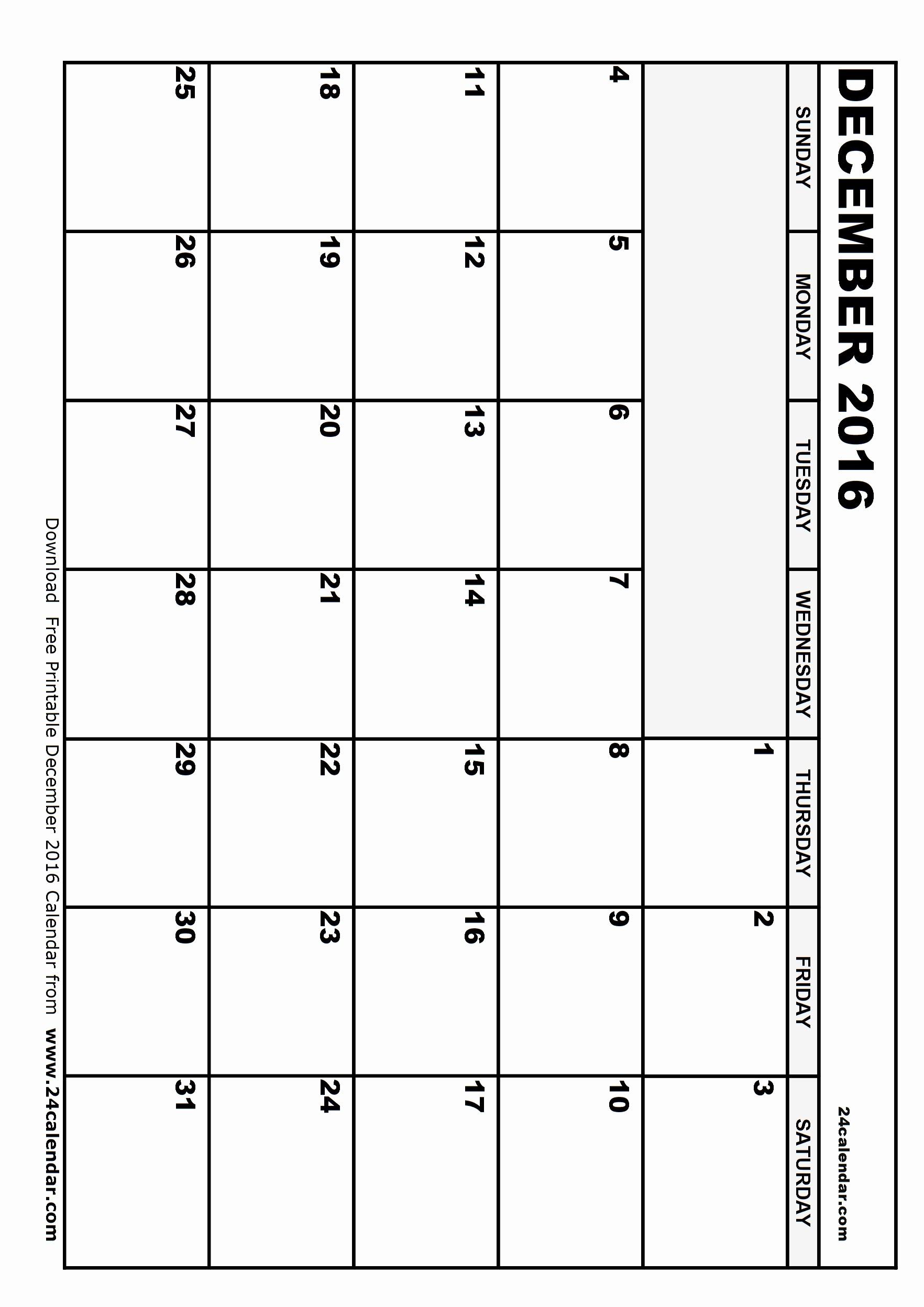 Blank December Calendar 2016 Printable Fresh Blank December 2016 Calendar In Printable format