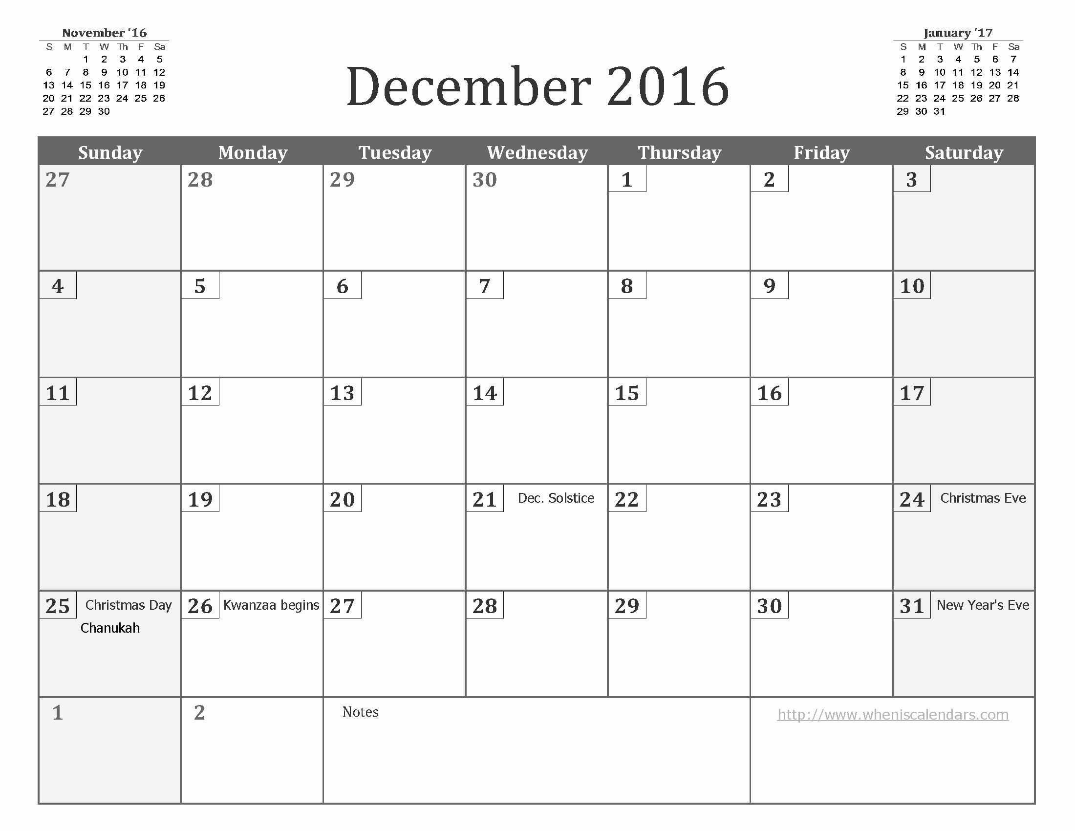 Blank December Calendar 2016 Printable Fresh December 2016 Calendar Pdf