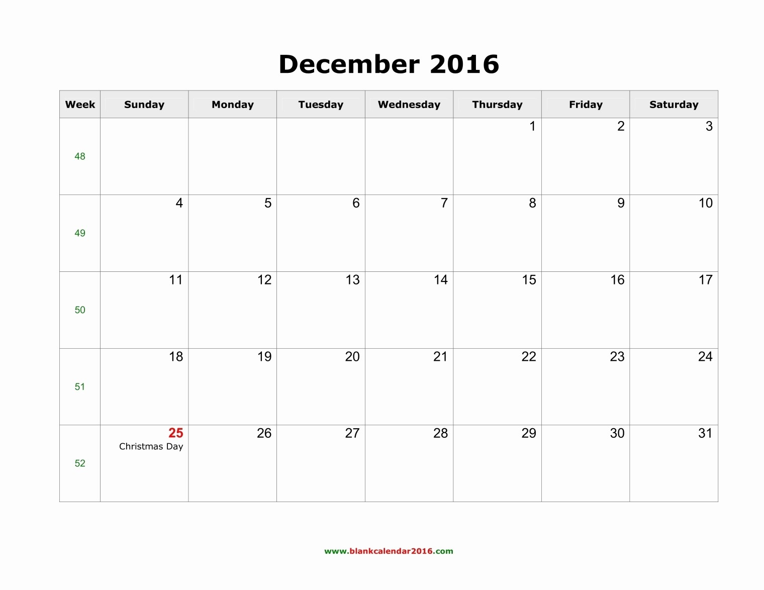 Blank December Calendar 2016 Printable Fresh December 2016 Calendar Printable with Holidays – Templates