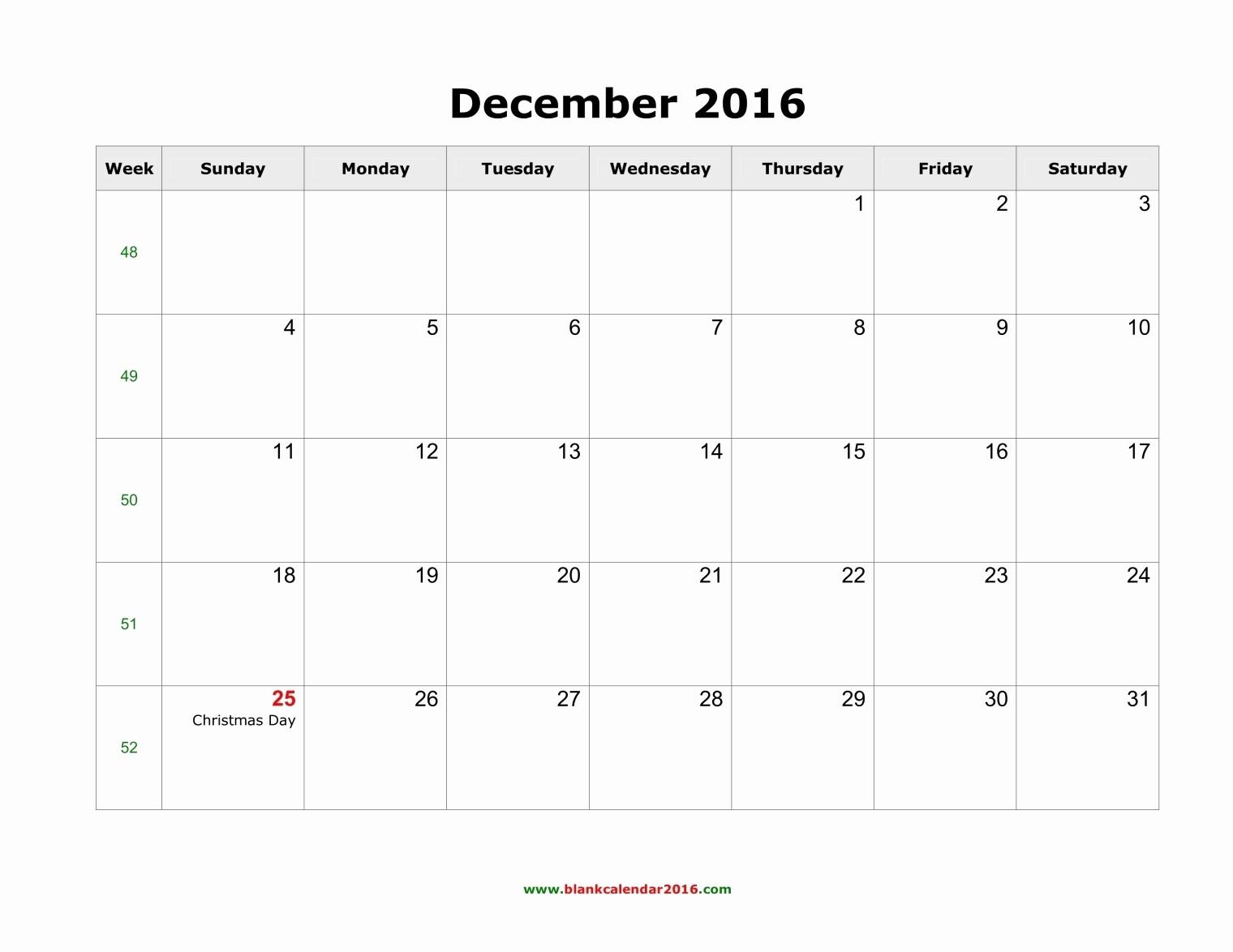 Blank December Calendar 2016 Printable Fresh December 2016 Calendar Printable with Holidays – Templates