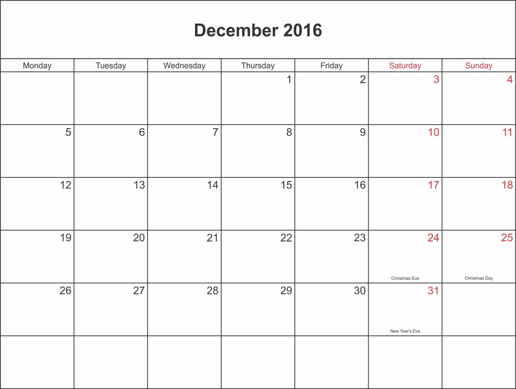 Blank December Calendar 2016 Printable Inspirational Blank December Calendar Templates 2016 Printable Word Pdf