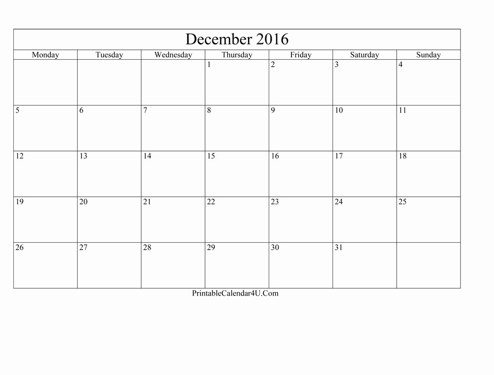Blank December Calendar 2016 Printable Inspirational Blank Editable December 2016 Calendar Printable Calendar