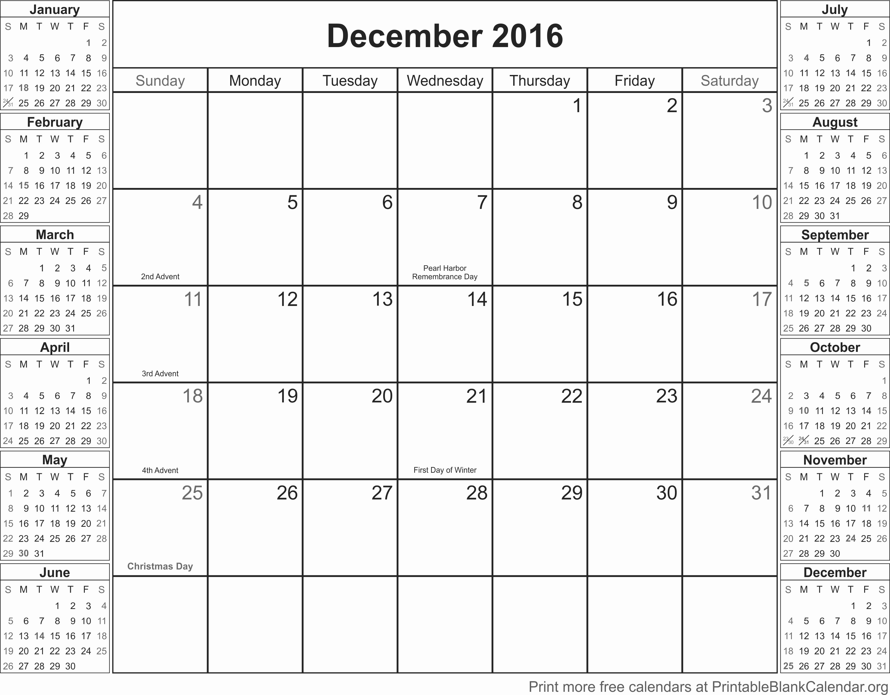 Blank December Calendar 2016 Printable Luxury December 2016 Free Printable Calendar Printable Blank