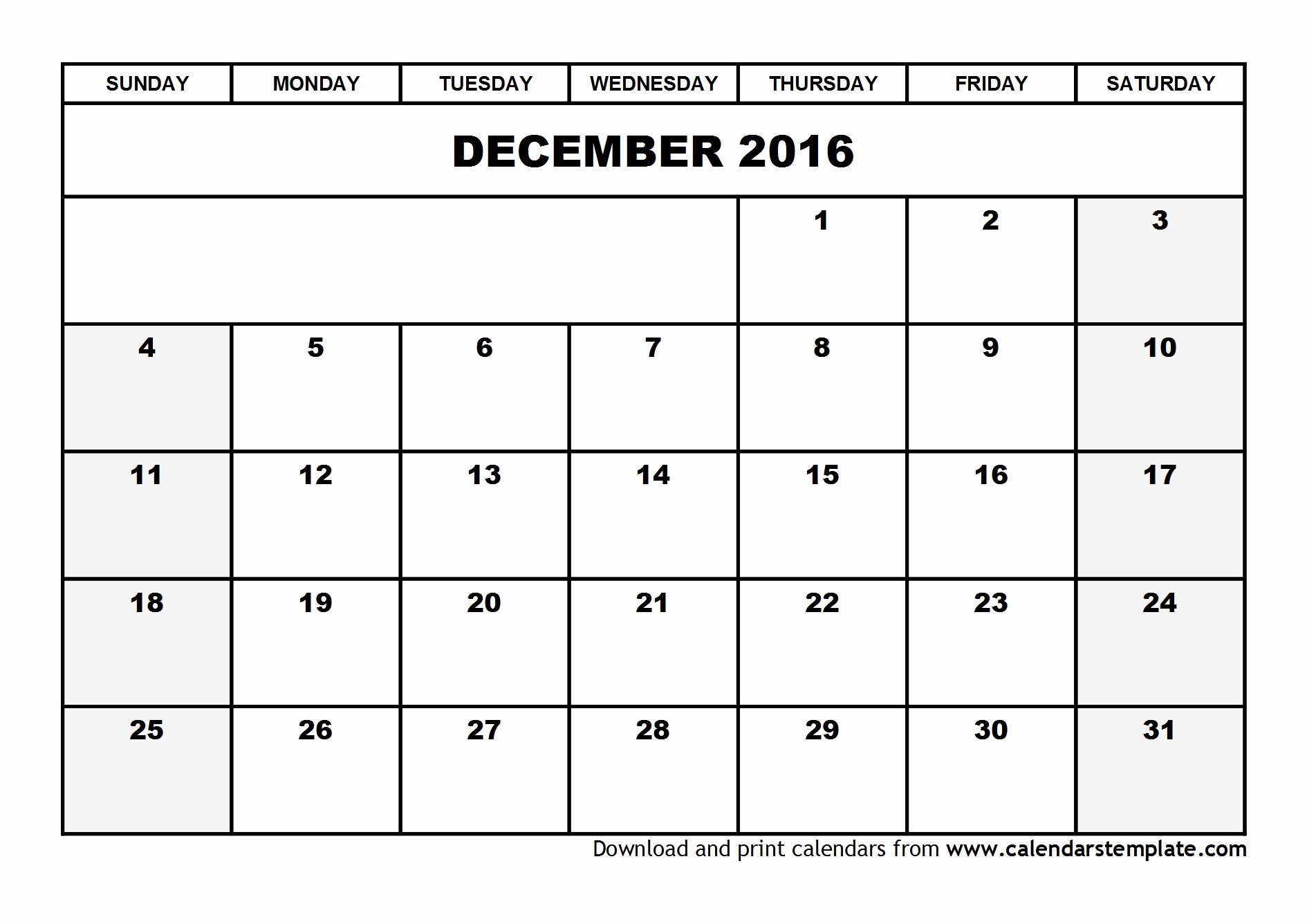 Blank December Calendar 2016 Printable Unique December 2016 Calendar Template