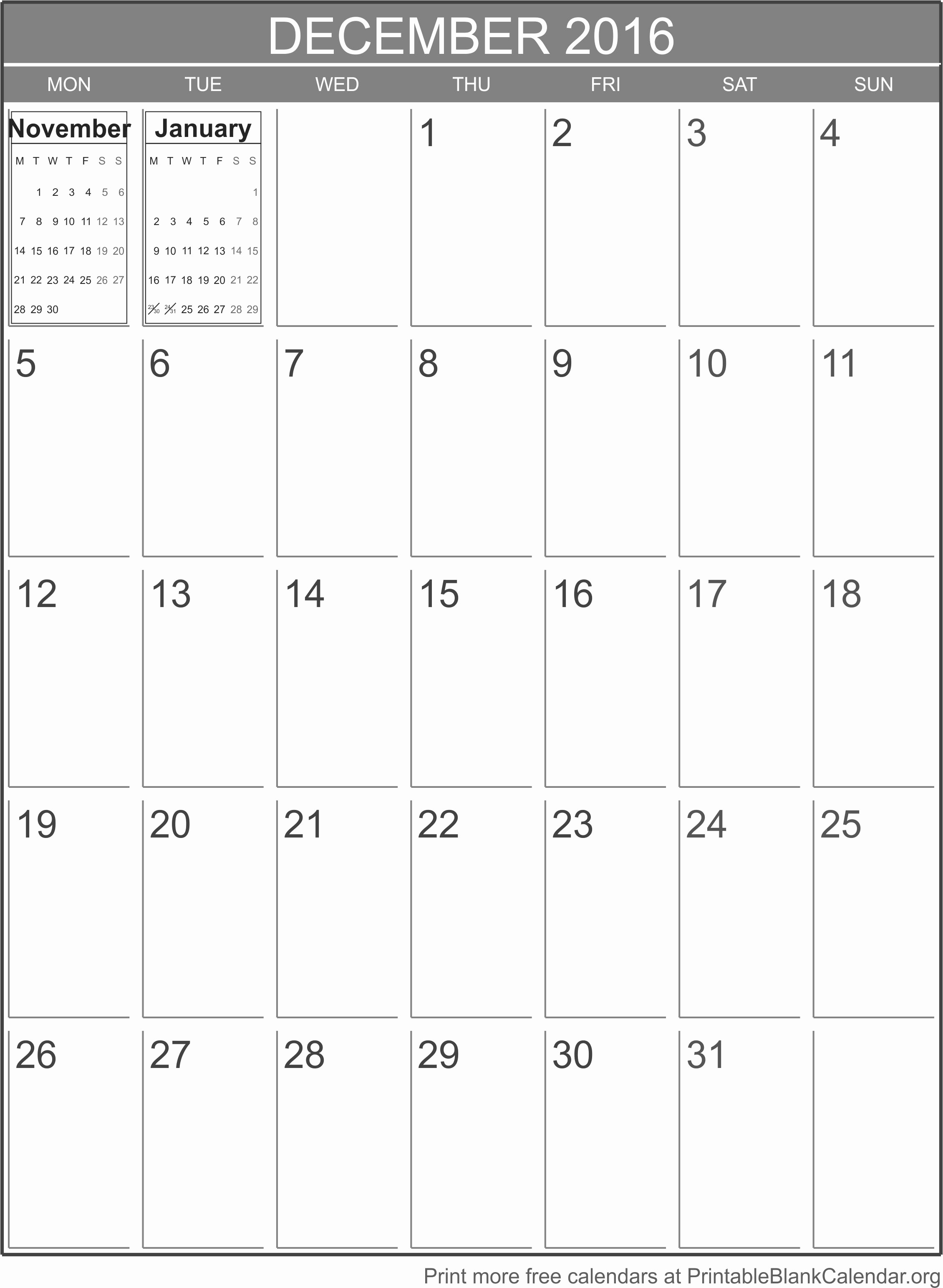 Blank December Calendar 2016 Printable Unique Printable Calendar December 2016 Printable Blank