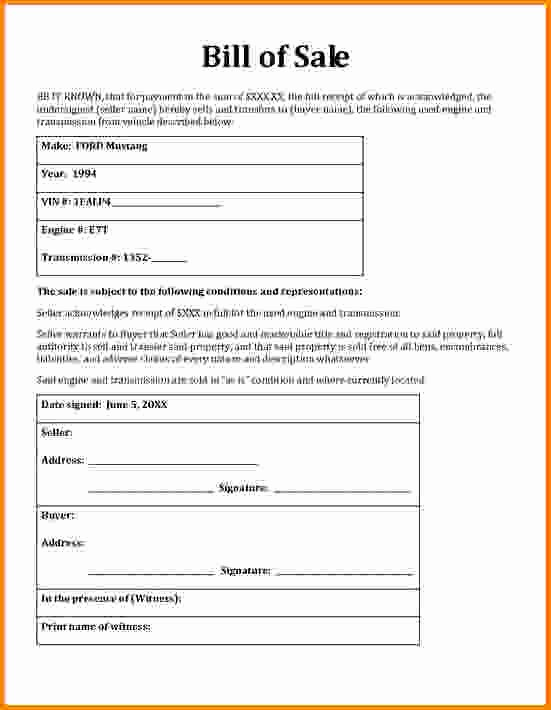 Blank Generic Bill Of Sale Fresh General Bill Sale form