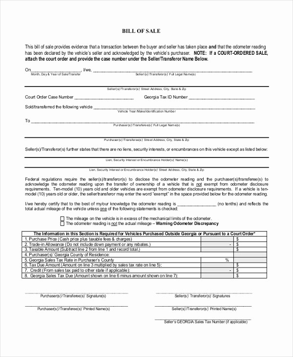 Blank Generic Bill Of Sale Luxury Blank Bill Sale form