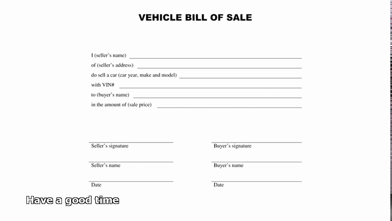 Blank Generic Bill Of Sale New Bill Of Sale Car