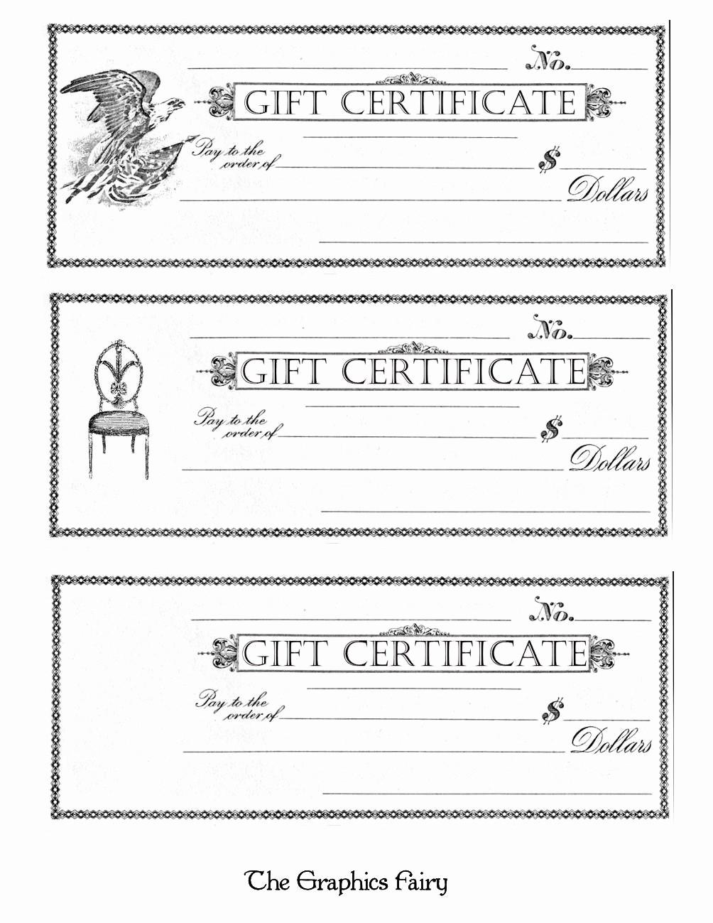 Blank Gift Certificates to Print Elegant Free Printable Gift Certificates the Graphics Fairy