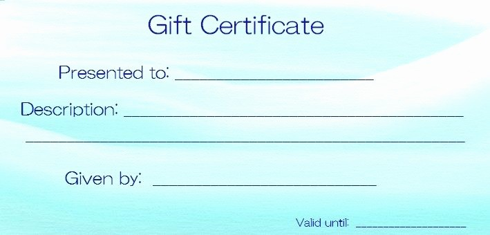 Blank Gift Certificates to Print Inspirational Blank Templates for Gift Certificates
