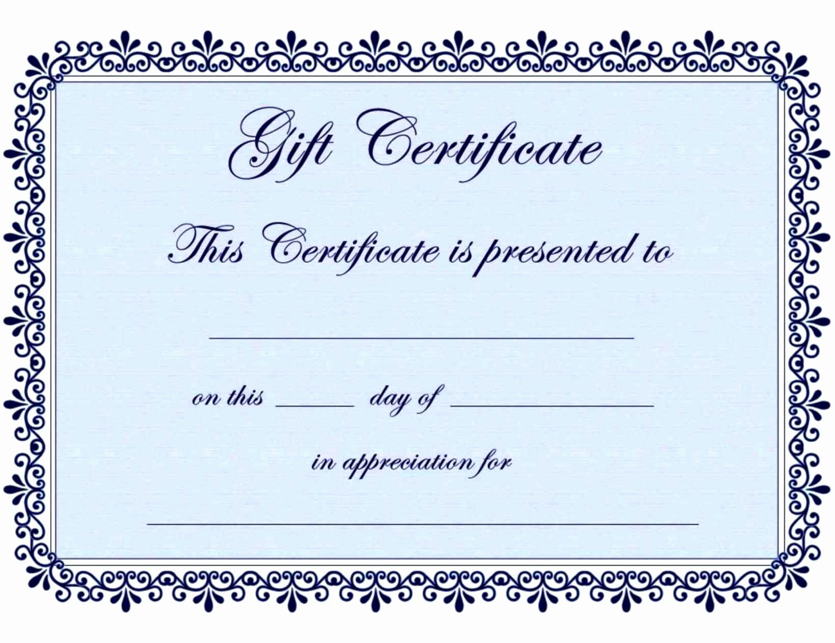 Blank Gift Certificates to Print Luxury Blank Printable Gift Certificates Template Update234