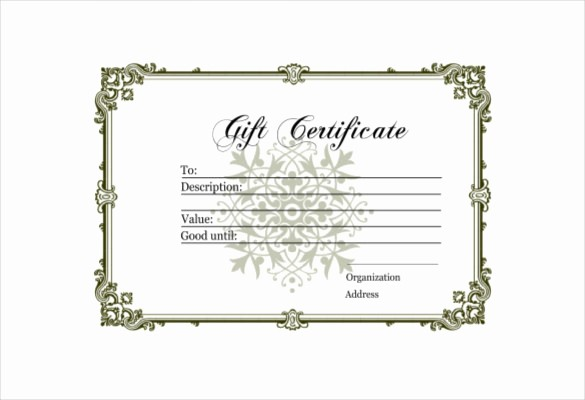 Blank Gift Certificates to Print Unique 12 Blank Gift Certificate Templates – Free Sample