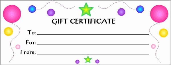 Blank Gift Certificates to Print Unique Free Gift Cards