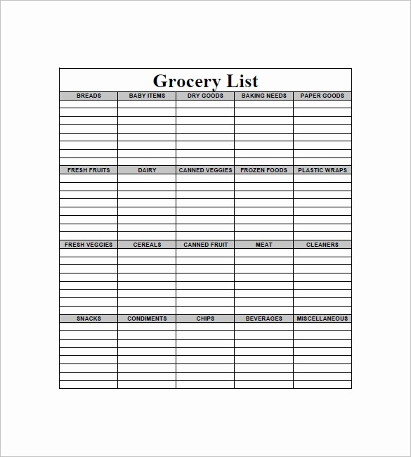 Blank Grocery List with Categories Best Of 10 Blank Grocery List Templates Pdf Doc Xls