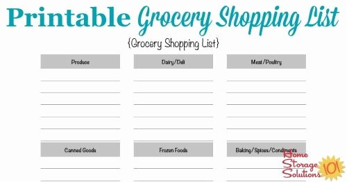 Blank Grocery List with Categories Elegant Free Printable Grocery Shopping List Template