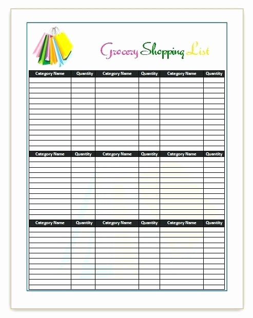 Blank Grocery List with Categories Elegant Printable Grocery List with Categories Free Shopping