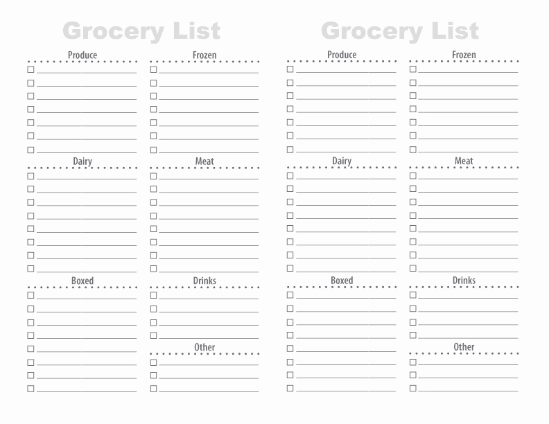 Blank Grocery List with Categories Inspirational 28 Free Printable Grocery List Templates