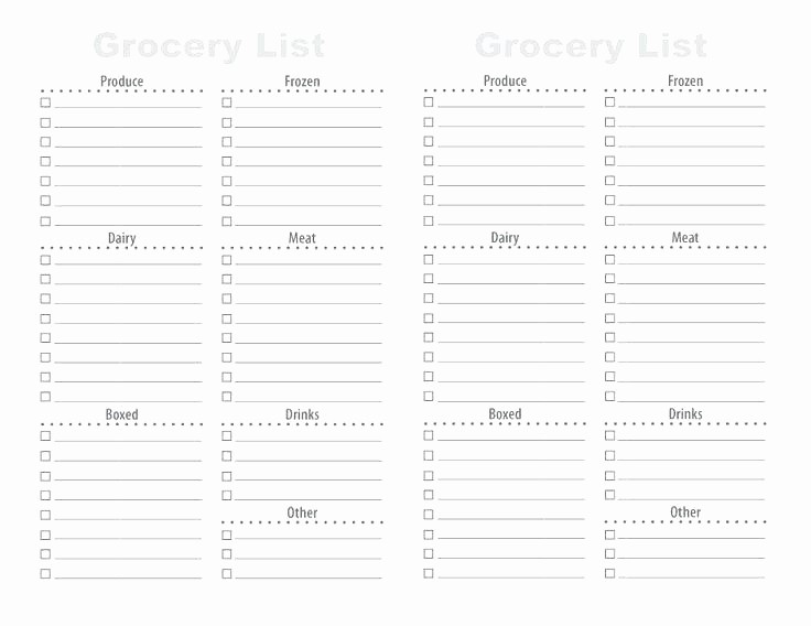 Blank Grocery List with Categories New Printable Blank Grocery List Template Free Shopping with