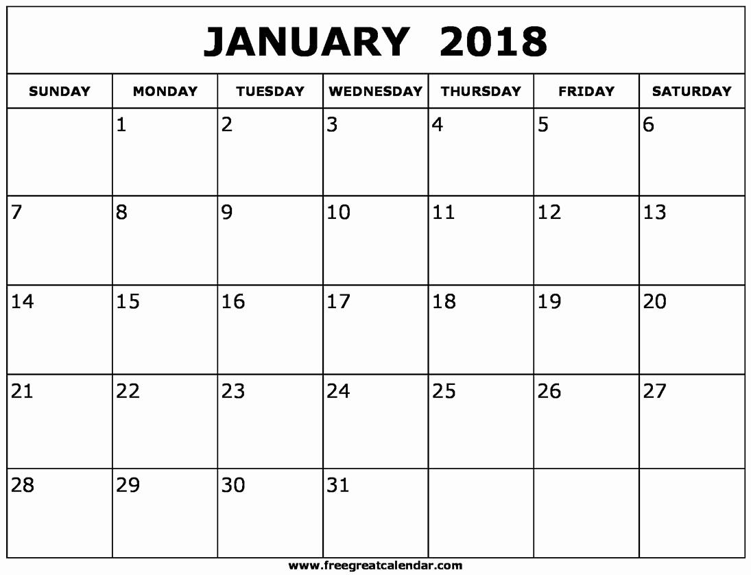 Blank January 2018 Calendar Printable Awesome Blank January 2018 Calendar Printable