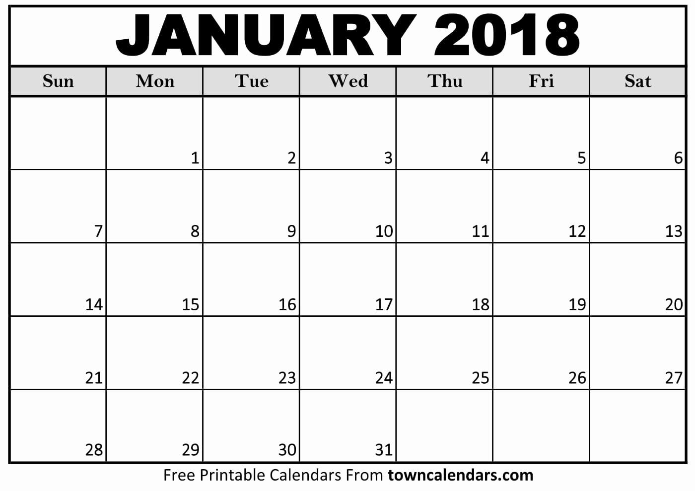 Blank January 2018 Calendar Printable Awesome Printable January 2018 Calendar towncalendars