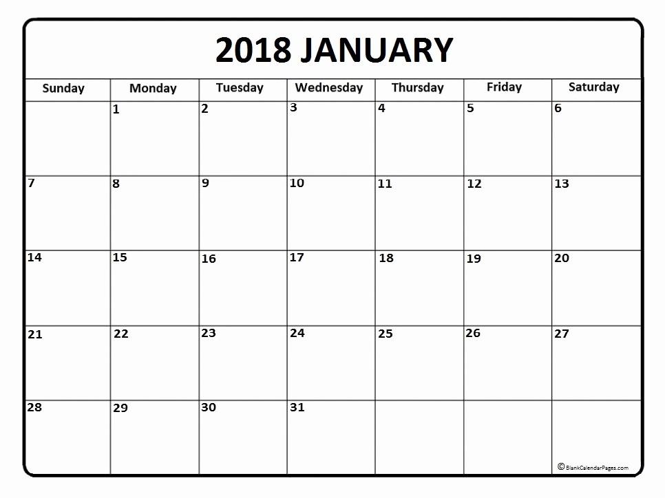 Blank January 2018 Calendar Printable Beautiful January 2018 Calendar January 2018 Calendar Printable