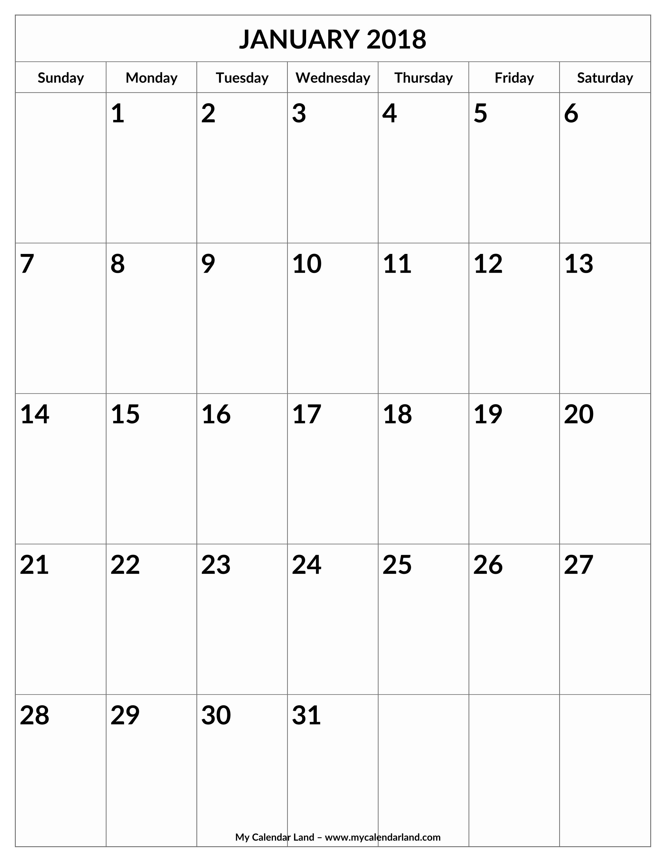 Blank January 2018 Calendar Printable Beautiful January 2018 Calendar My Calendar Land