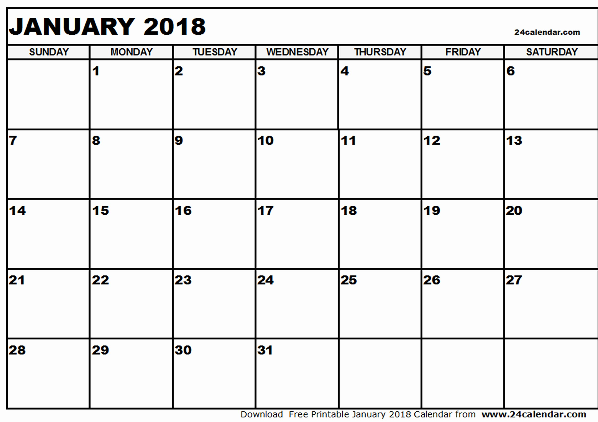 Blank January 2018 Calendar Printable Best Of January 2018 Printable Calendar