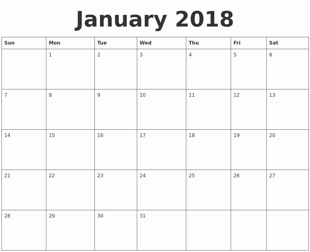 Blank January 2018 Calendar Printable Best Of January Calendars
